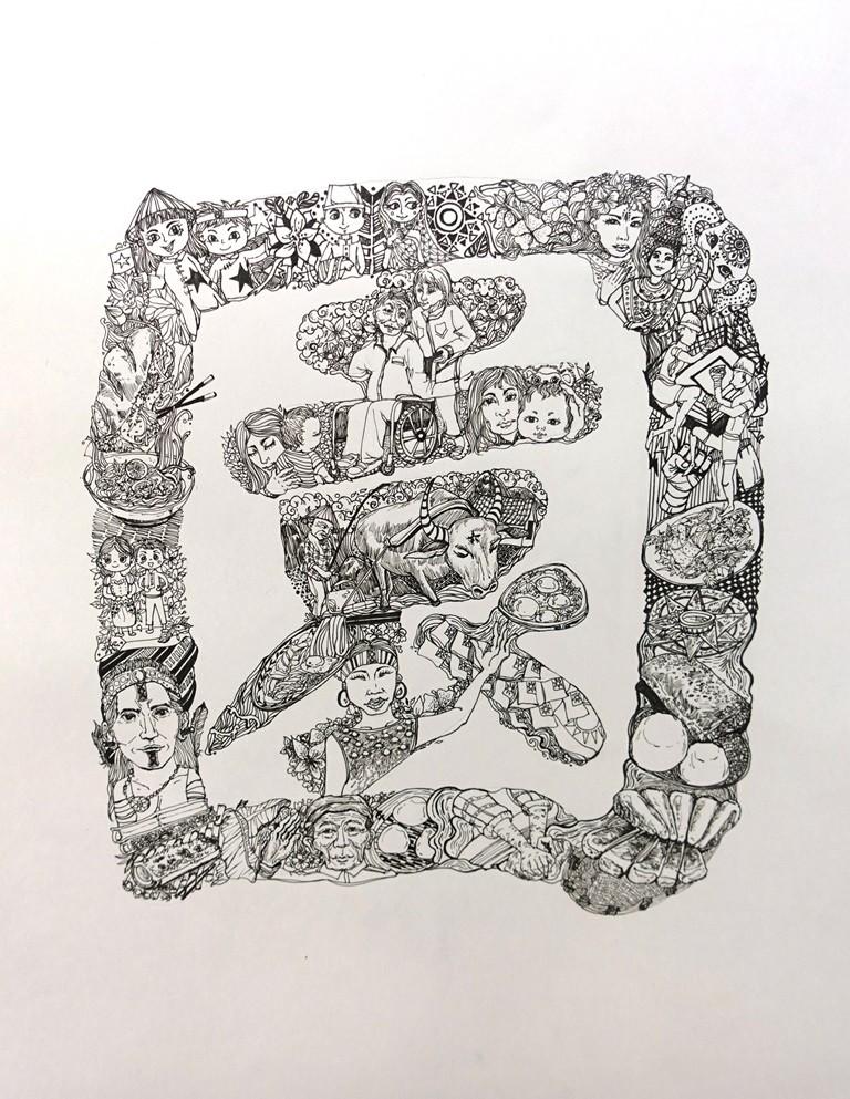 通稿照片07-「園」字講述多元族群人物與飲食,如客家鹹湯圓、泰雅竹筒飯、外省伯伯的饅頭以及雲南國旗屋米干.JPG