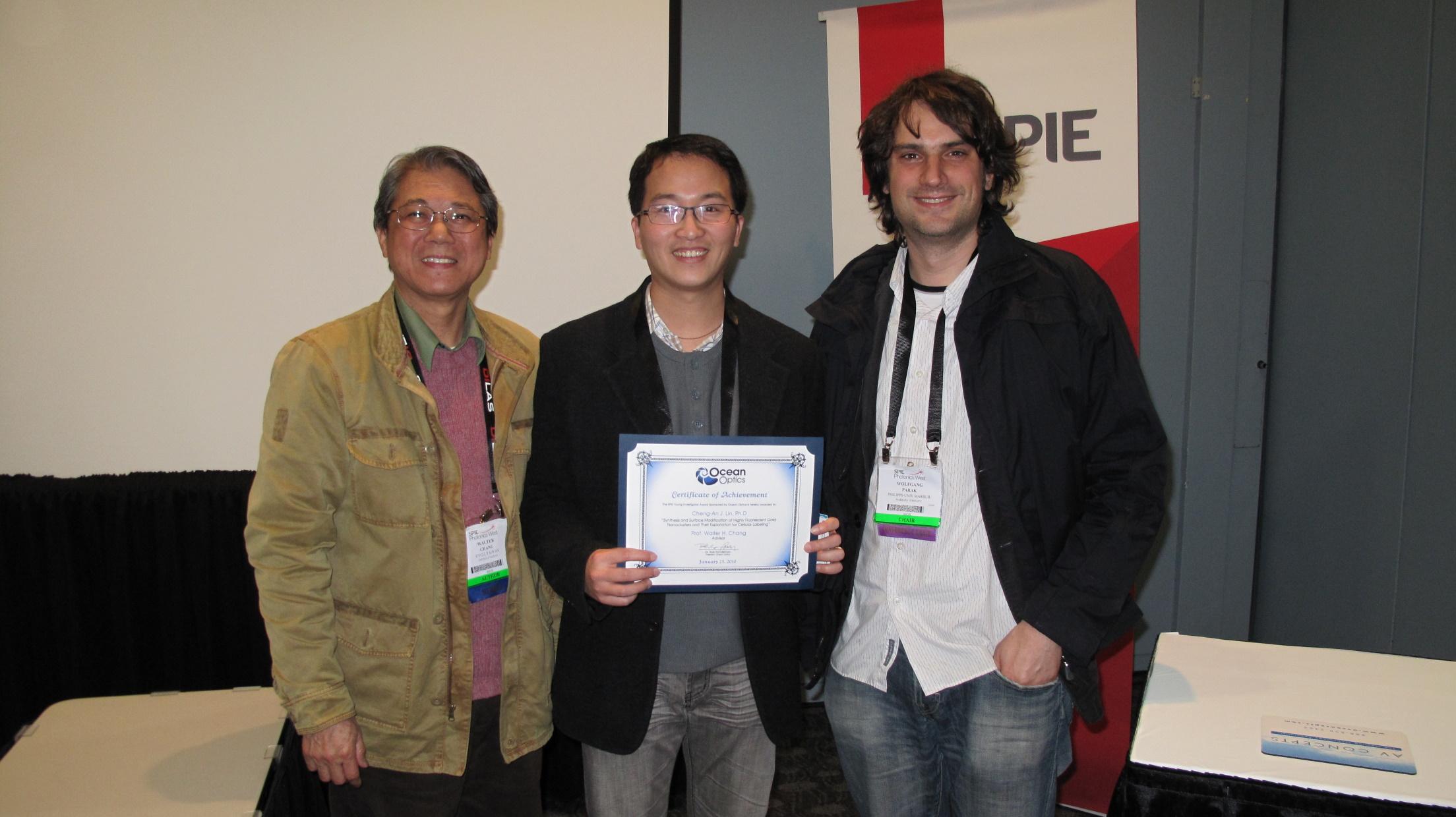 醫工系林政鞍助理教授榮獲國際光電工程學會「青年研究獎章」