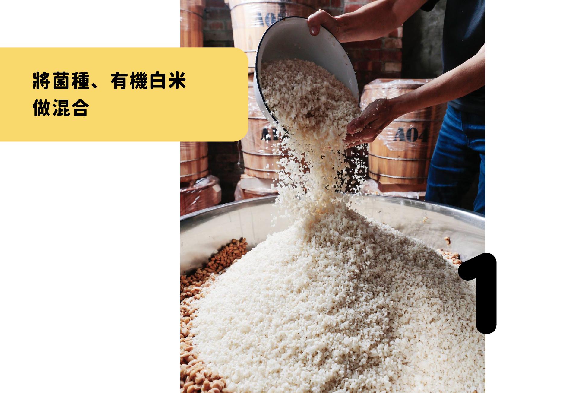 將菌種、有機白米做混合