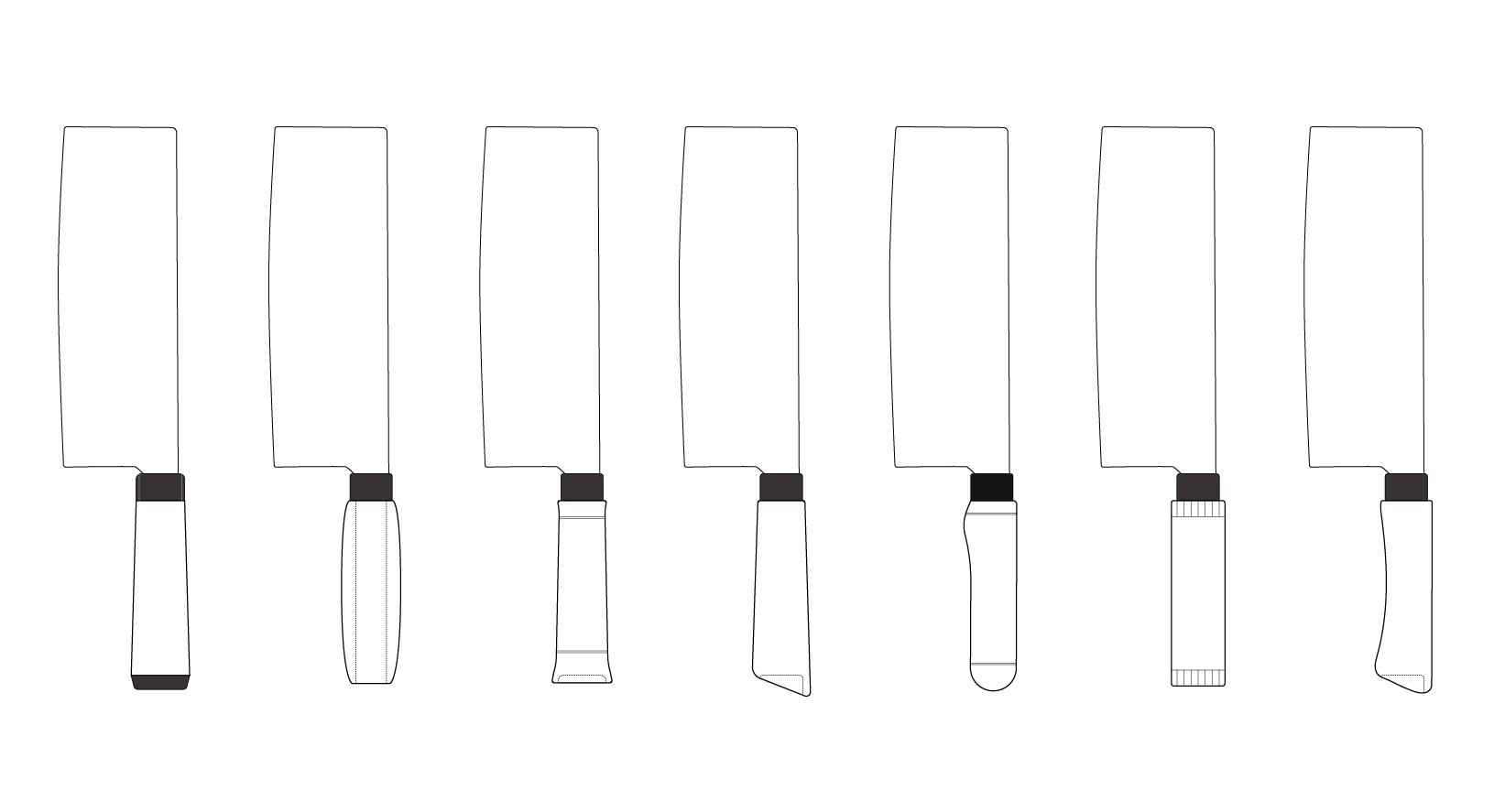 萬發鐵店 保留萬發打鐵鋪經典的刀面造型,重新設計刀把部分,以簡潔造型為主,為經典和現代造型並存。  發想時先畫了多種造型的握把,再進行實際使用的方式逐一淘汰不適合的,選出最好使用的刀把。   甘樂文創   甘之如飴,樂在其中