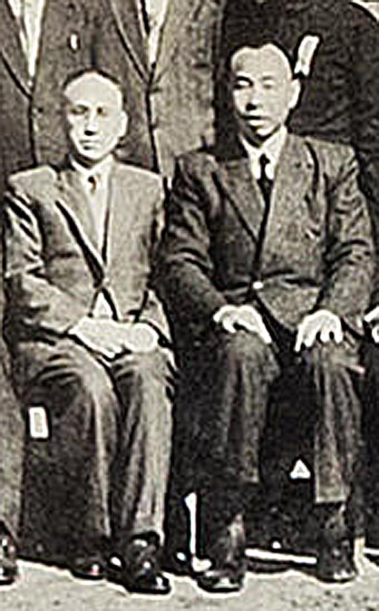 通稿照片-聯華神通集團創辦人苗育秀先生(右)與中原大學創辦人張靜愚先生早年相知.jpg
